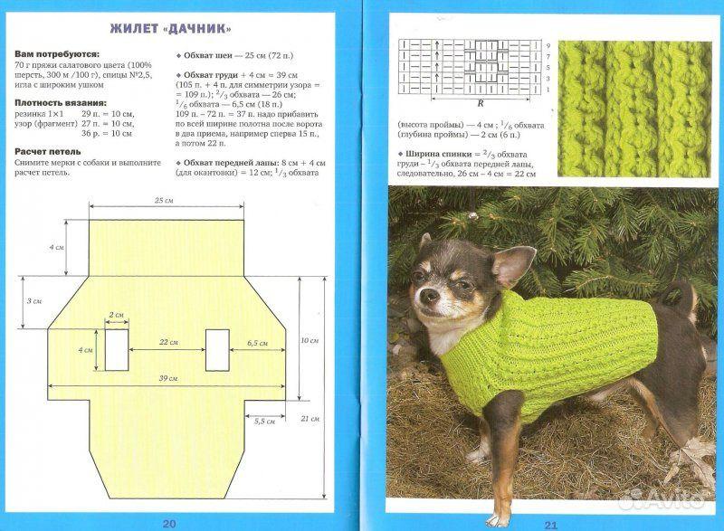 Схема вязанного спицами свитера для собаки