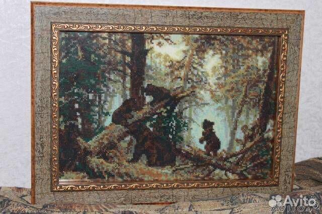 """В продаже Картина вышитая крестом  """"Утро в сосновом лесу """" по лучшей цене c фотографиями и описанием, продаю в Москва..."""