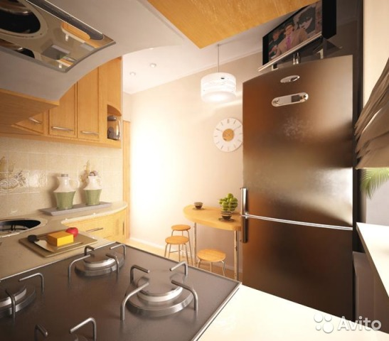 Дизайн кухни 3 кв.м в хрущевке с холодильником