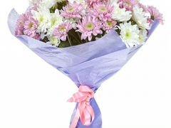 Букет белых и розовых хризантем