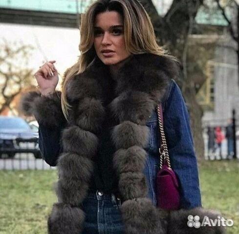 80c7472bdaca Джинсовая куртка с мехом. Натуральный песец   Festima.Ru ...