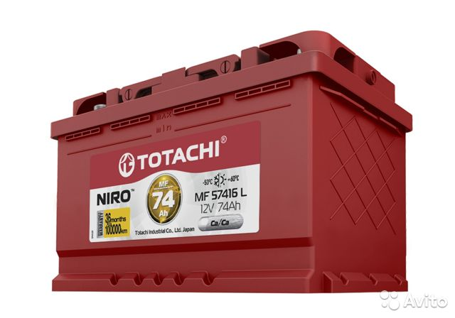 Аккумулятор totachi niro 74AH 770A обратный— фотография №1