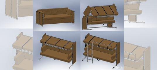 диван двухъярусная кровать трансформер на заказ купить в
