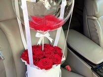 15 роз в шляпной коробке с шаром