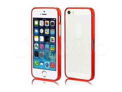 Бампер для iPhone 5 мет 0,7мм Lite красный